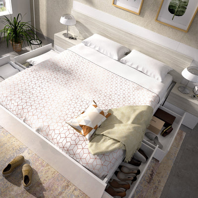 FRUIT - Cama 4 cajones 160 cm Blanco Brillo - muebLISTO