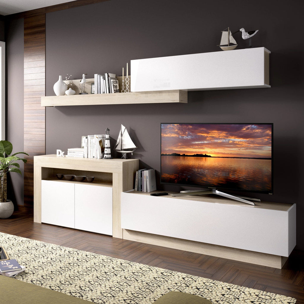 HOLLY - Salón TV compacto 261 cm Roble Natural / Blanco Brillo - muebLISTO