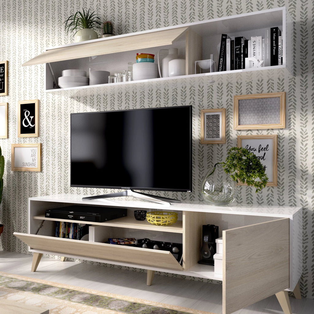 JAMES - Salón TV compacto 180 cm Blanco Brillo / Roble Natural - muebLISTO