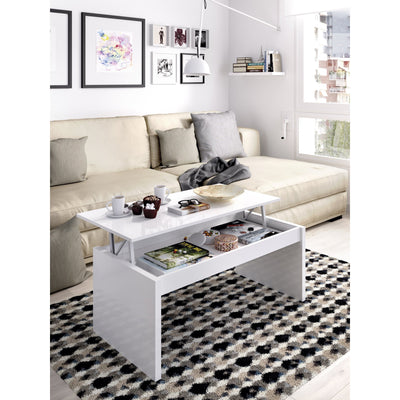 JOB - Mesa de centro elevable 102 cm Blanco Brillo - muebLISTO