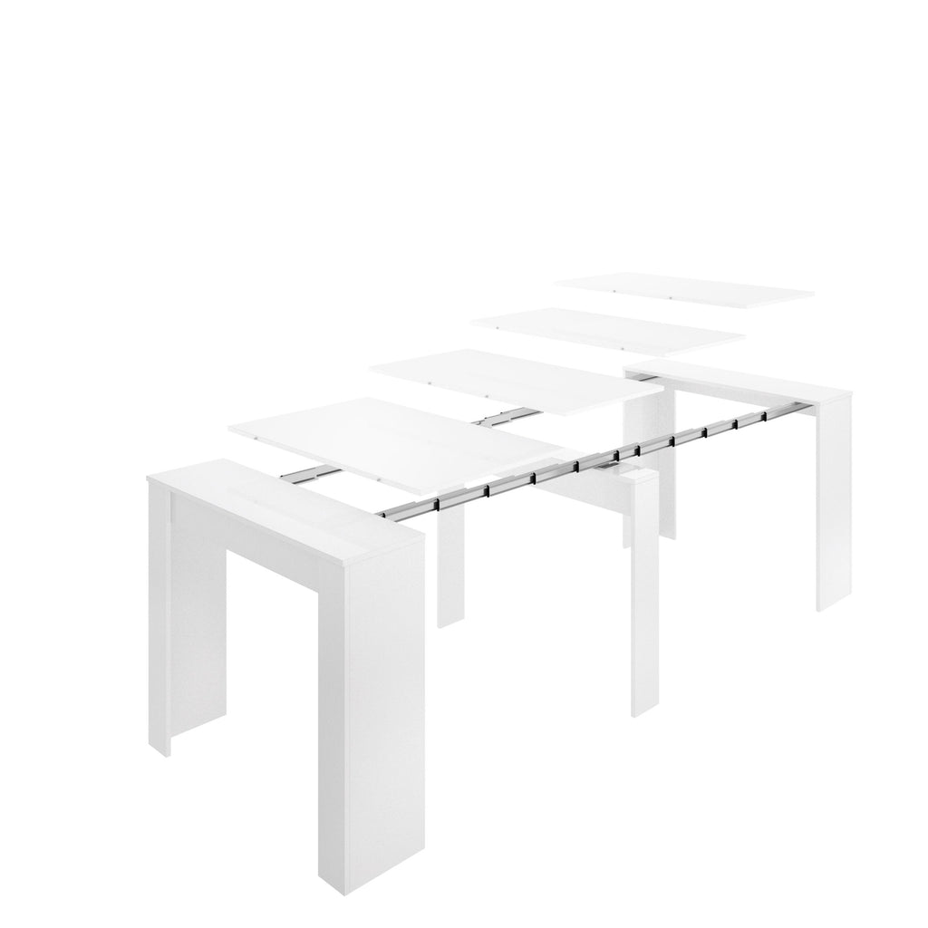 KYOTO - Mesa extensible 54 (hasta 239 cm) x 90 cm Blanco Brillo - muebLISTO