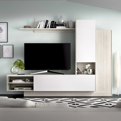 LIME - Salón TV compacto 218 cm Gris / Blanco Brillo - muebLISTO