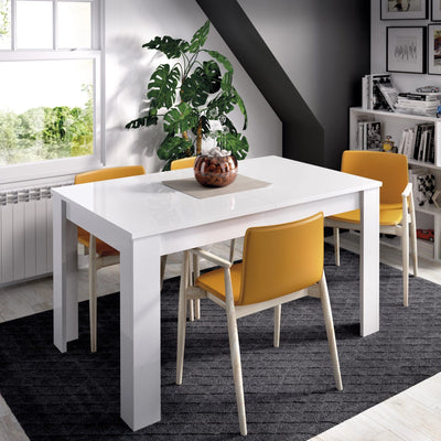 MESS - Mesa comedor extensible 140 (hasta 190 cm) x 90 cm Blanco Brillo - muebLISTO