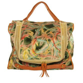 Leather Trimmed Printed Silk Tote
