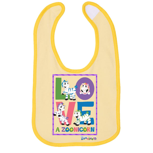 Love A Zoonicorn by Zoonicorn, Infant Contrast Trim Premium Jersey Bib