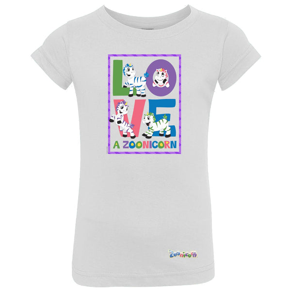 Love A Zoonicorn by Zoonicorn, Toddler Girls Fine Jersey T-Shirt