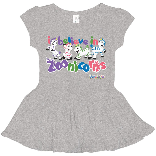 I Believe in Zoonicorns by Zoonicorn, Toddler Rib Dress