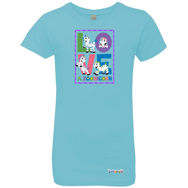 Love A Zoonicorn by Zoonicorn, Girls' Princess Crew T-Shirt