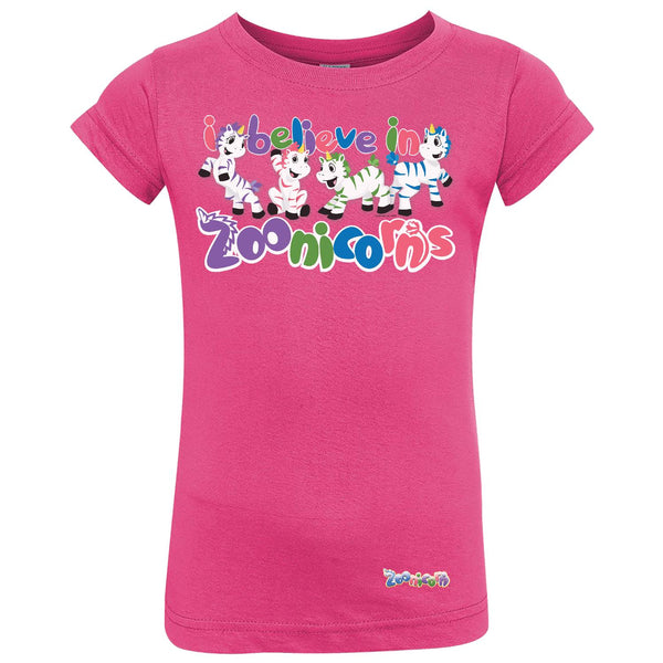 I Believe in Zoonicorns by Zoonicorn, Toddler Girls Fine Jersey T-Shirt