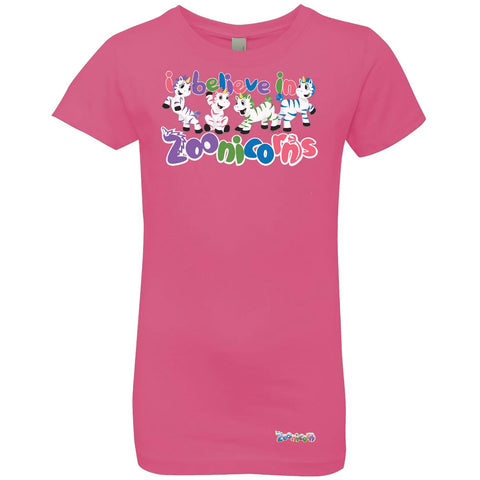 I Believe in Zoonicorns by Zoonicorn, Girls' Princess Crew T-Shirt