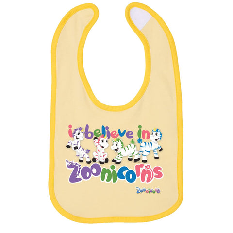 I Believe in Zoonicorns by Zoonicorn, Infant Contrast Trim Premium Jersey Bib