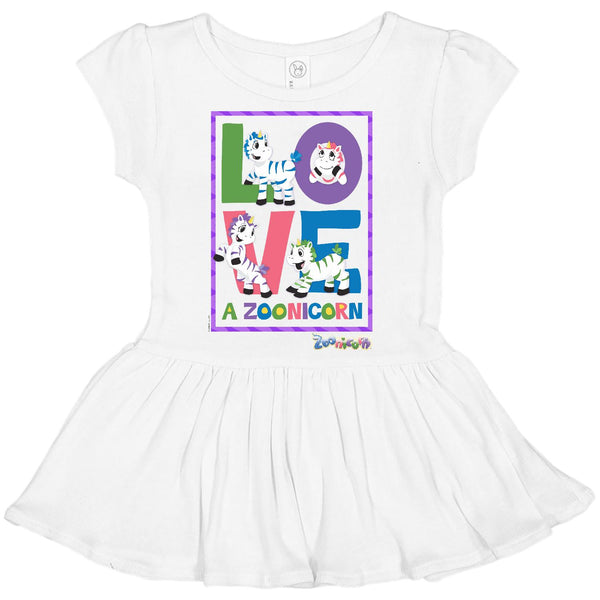 Love A Zoonicorn by Zoonicorn, Toddler Rib Dress