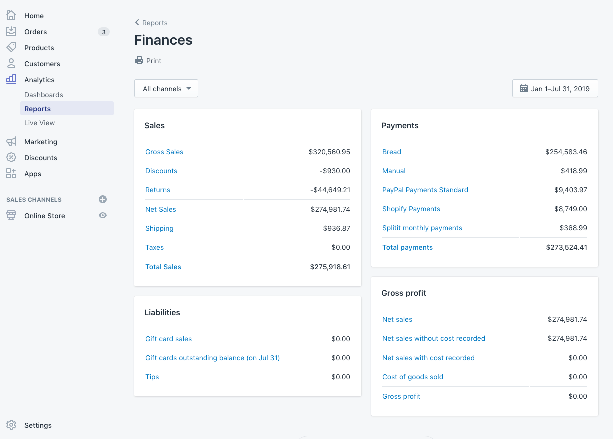 Shopify Finances Report - Jan-Jul 2019