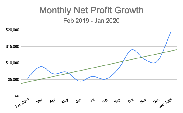 Monthly Net Profit Growth (Feb 2019 - Jan 2020)
