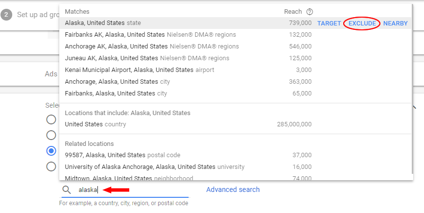 How to exclude states from AdWords campaigns