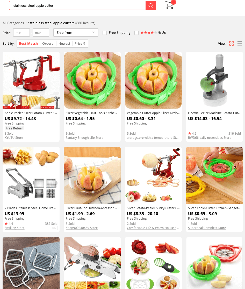 AliExpress.com search results for stainless steel apple cutters