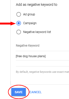 Add negative keyword to Campaign