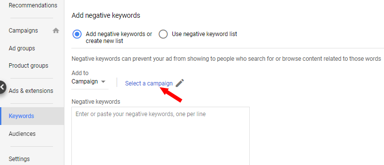 Select campaign for negative keywords