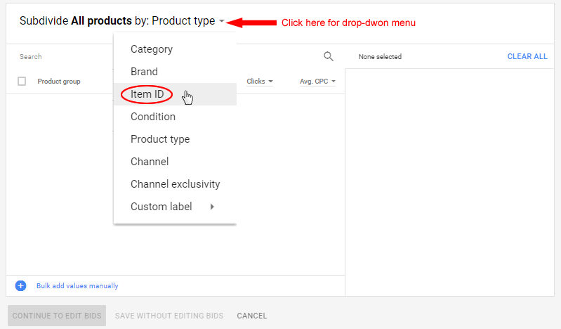 Select Product ID from Drop-down Menu