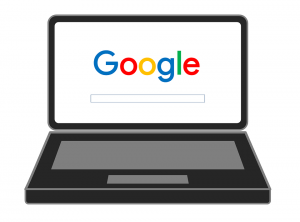 Google logo on laptop