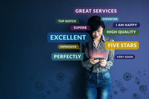 image of a young woman holding a phone surrounded by positive testimonials