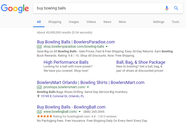 Google AdWords Text Ads Example