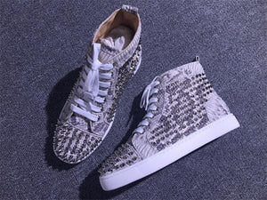 buy online b2440 ff38b Christian Loub sneakers python leather spikes gold sliver winter high top  flat menshoes