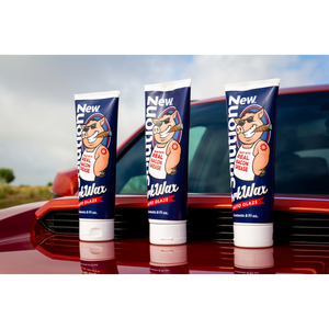 3 Bottles of New Solutionz Auto Pork Wax On Orange Toyota Truck