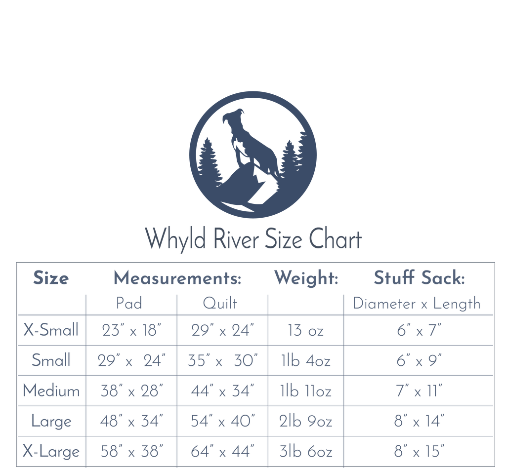 whyld river size chart