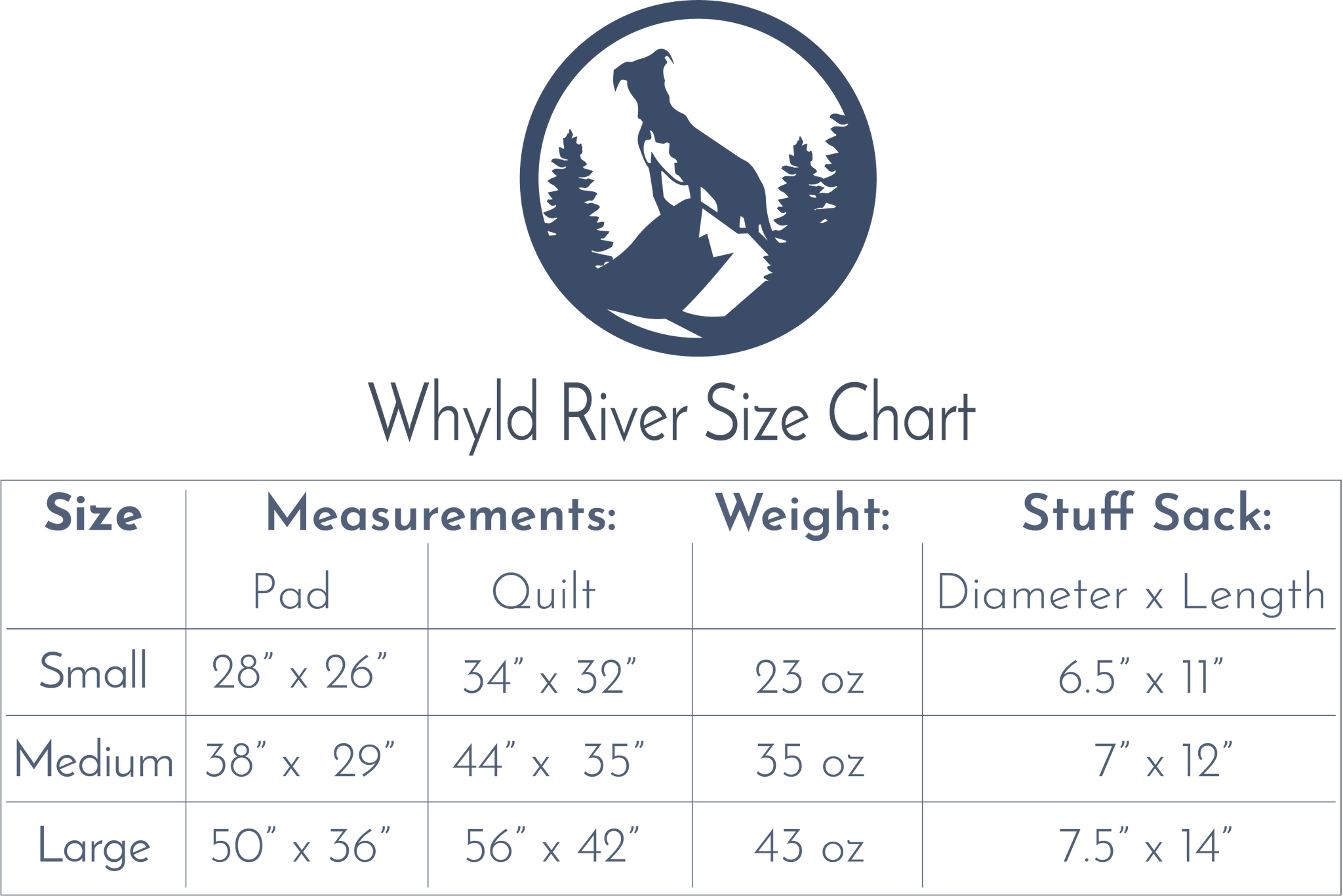 sizing chart for Whyld River doggie sleeping bag for camping backpacking and travel