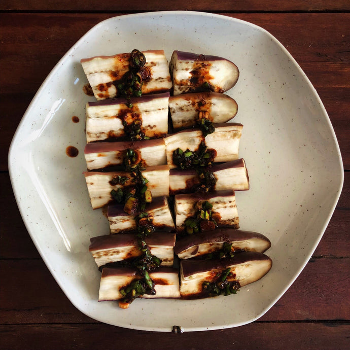 Steamed eggplant with soy dipping sauce