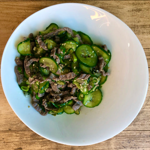 Warm Cucumber and Beef Salad Banchan