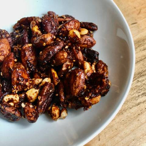 Sweet & Spicy Gochujang Spiced Mixed Nuts