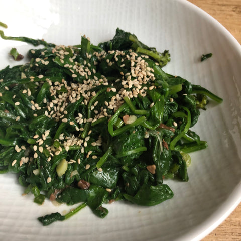 korean recipe spinach doenjang fermented soybean paste infrared-roasted sesame oil infrared-roasted sesame seeds