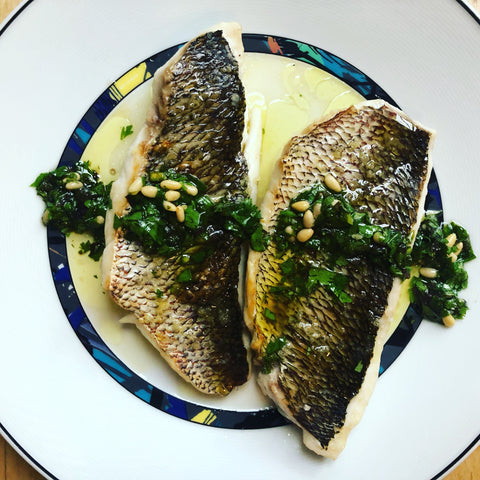 korean recipe snapper with herb vinaigrette ginkgo vinegar infrared-roasted perilla oil cheongjang korean soy sauce