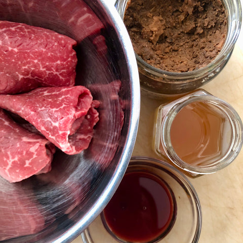 recipe doenjang marinated steak fermented soybean paste infrared-roasted sesame oil jinjang aged soy sauce