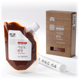 ssamjang paste package with box white background