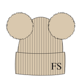 Hat - Beige Double Faux Fur Pompom