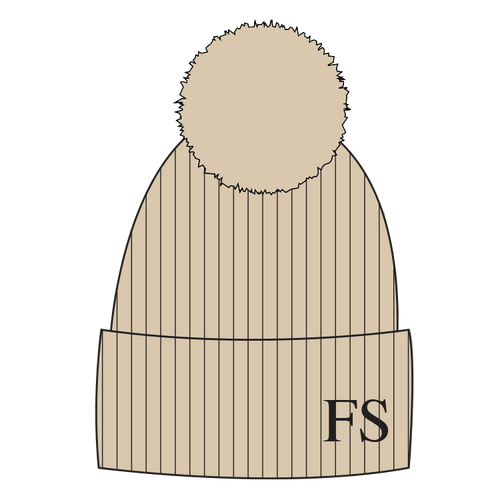 Hat - Beige Single Faux Fur Pompom