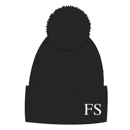 Hat - Black Single Faux Fur Pompom