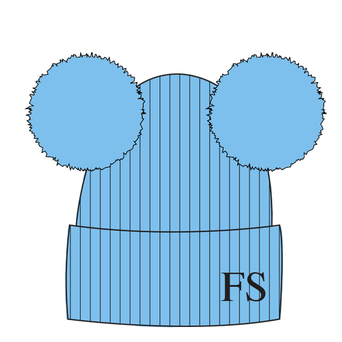 Hat Pale Blue Double Faux Fur Pompom