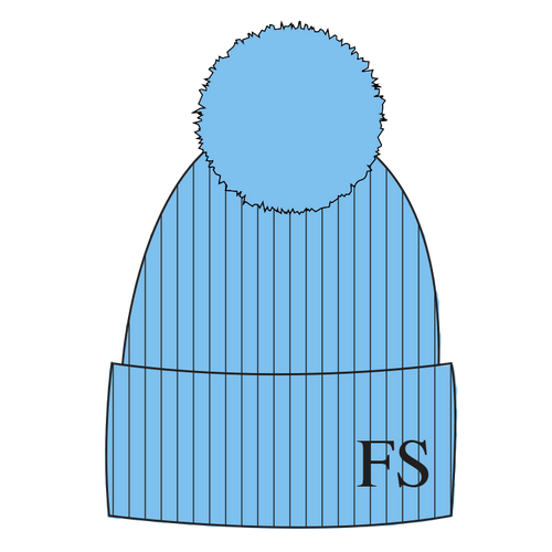Hat Pale Blue Single Faux Fur Pompom