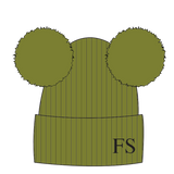 Hat - Olive Green Double Faux Fur Pompom