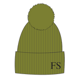 Hat - Olive Green Single Faux Fur Pompom