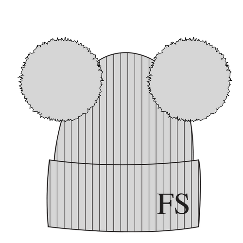 Hat - Grey Double Faux Fur Pompom