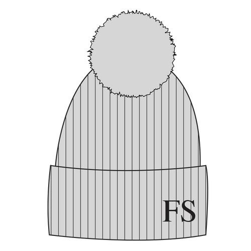 Hat - Grey Single Faux Fur Pompom
