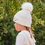 Hat - Cream Single Faux Fur Pompom