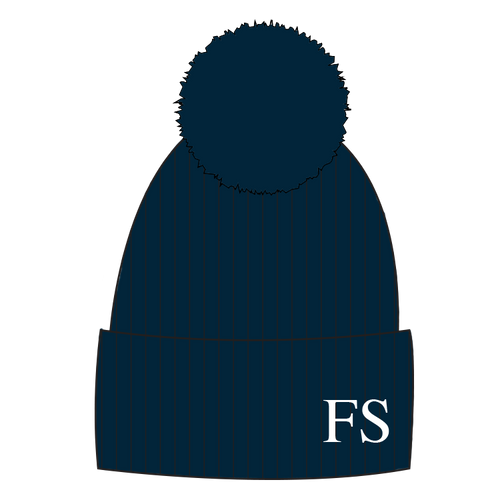 112653d8072 Hat Navy Blue Single Faux Fur Pompom