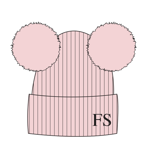 Hat Pale Pink Double Faux Fur Pompom