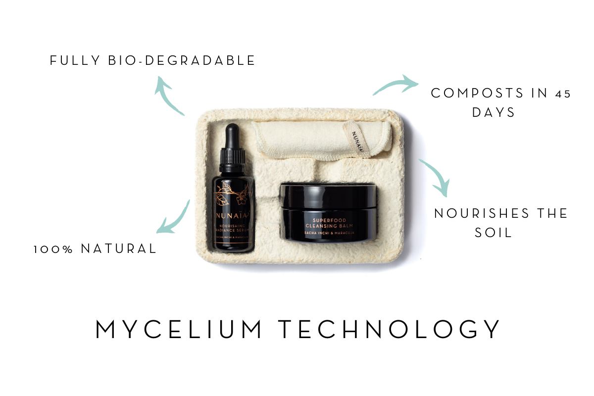 Mycelium Packaging at Nunaia Beauty